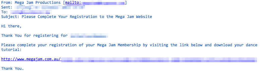 Email from Mega Jam Website